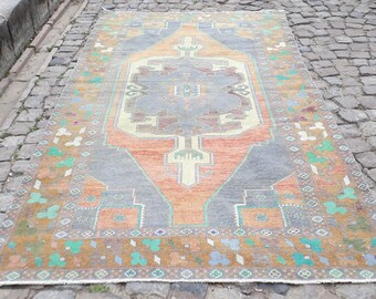 Turkish Rug    Oushak Rug Muted Color Rug  Cappadocia Rug Pink Rug Runner Rug Anatolian Rug Carpet 118 x 54 inches