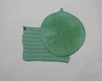 2, 1950s Crocheted Potholders, Green with Loops, Mid Century Hot Pads, Vintage Kitchen Decor Linens, Charming