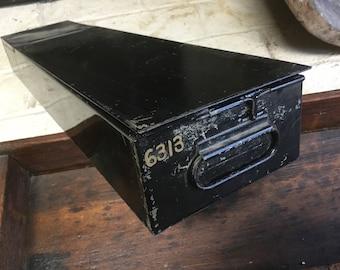 Unusual vintage industrial black metal card file drawer box