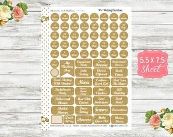 Wedding Countdown Stickers - Wedding Planner Stickers - Wedding Date Stickers - Wedding Stickers - M141