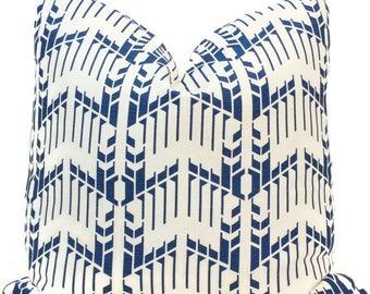 Frank Lloyd Wright Blue Geomtric Pillow Cover 18x18, 20x20, 22x22, Eurosham or Lumbar Pillow, Schumacher pillow cover Price House