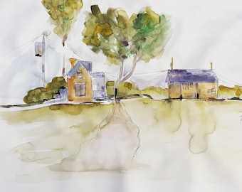 Farm scape ORIGINAL watercolor