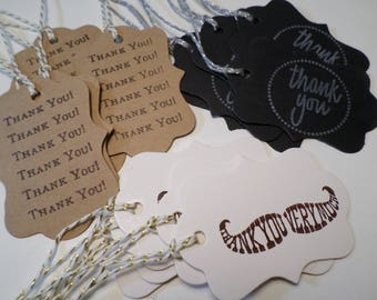 "15  Thank You Tags-5 kraft-5 black-5 white-(15) fifteen tags (2""x2.8"")each set comes in bag."