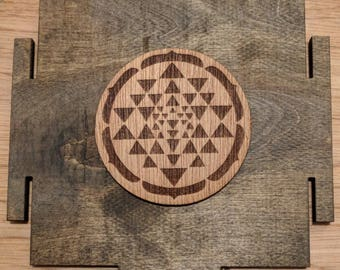 Sri Yantra Wooden Stickers in Cherry and Mahogony
