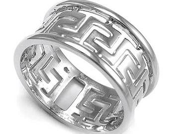 14k White Gold Greek Key Ring R354