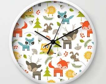 Animals Clock, Animal Wall Clock, Woodland Animals Clock, Kids Clock, Childs clock, Childrens Clock, Forrest animals clock, bedroom clock