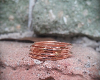Stack Rings Hammered- Rose Gold Filled Set of 5 hammered rings