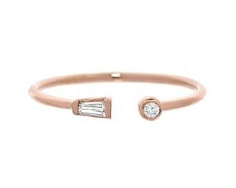 Cuff Ring, Diamond Ring, Delicate Diamond Ring, Diamond Cuff Ring, Small Diamond Ring, Baguette Ring, Midi, Petite Ring, Gold Ring, Nixin