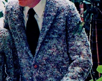 Easy Men's Shawl Collar Sweater Vintage Knitting Pattern Instant Download