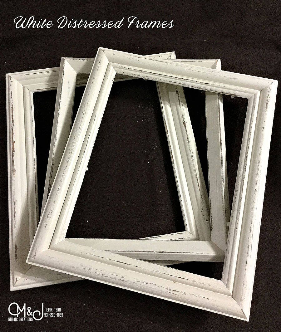White Distressed Picture Frame | 8x10 - 5x7- 4x6 - 11x14 || Re ...