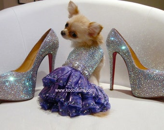 Sparkling Mystic Swarovski Crystal Couture Dog Dress