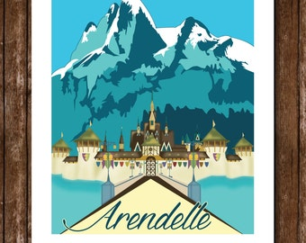 Arendelle Castle Poster / Frozen Poster / Frozen Bedroom Decor / Princess Castles