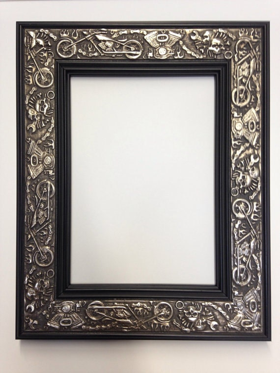 Harley Davidson Motorcycle Picture Frame, Silver and Black 3x5, 4x6, 5x7,  8x10, 11x14, 18x24+ Custom Sizes, Chopper Biker Picture Frame