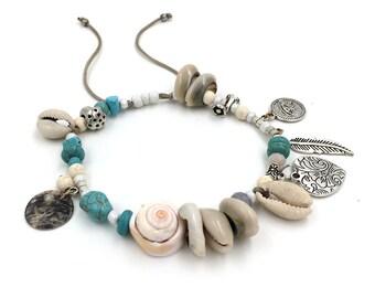 Shells & turquoise ankle bracelet / / / Bohemian gypsy ethnic anklet