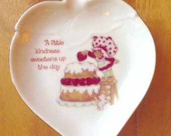 Vintage Strawberry Shortcake Porcelain Trinket Tray/Candy Dish
