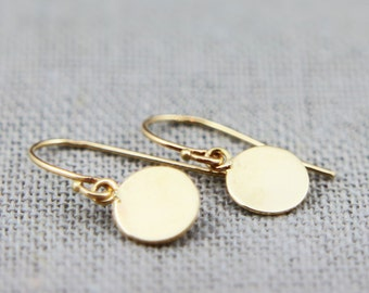"Solid 14K Gold Earrings | Polished Solid 14K Gold Disc Earrings 5/16"" 3/8"" 7/16"" 
