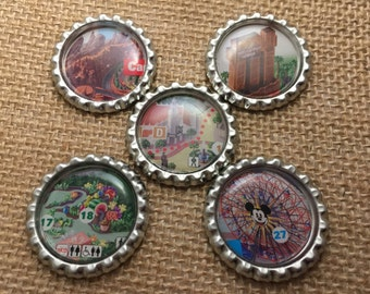 Disney California Adventure Map Bottlecap Magnets/Pins - Set of 5