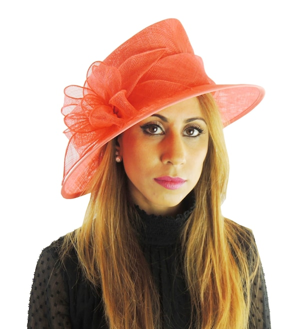 Coral Pink Sinmay Hat For Kentucky Derby Weddings Ascot