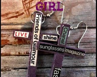 Purple Cross Earrings The Glamour Girl #13