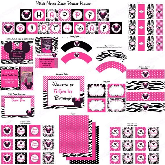 Favorito pacchetto fai da te Minnie Mouse hot Pink Zebra Deluxe XS55