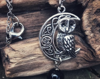 Owl necklace, witch's owl necklace, crescent moon necklace, Tourmaline necklace, Protection necklace, Beltane