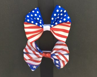 Ready to Ship Patriotic Large Bow Set