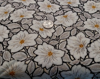 Maya Cream Floral with Black & Topaz from Quilting Treasures by the yard