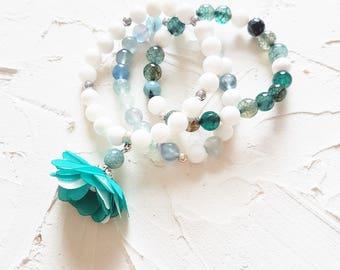 Fluorite bracelet, Agate bracelet, Coral bracelet, Mint bracelet, White bracelet, Flower bracelet, Pastel bracelet, Set of 3, Gift for her