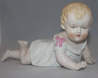 Vintage German Porcelain Bisque Piano Baby Figurine