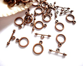 10 Antique Copper Toggle Clasps - 16-AC-2A