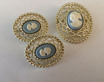 Sarah Coventry Lace Cameo Brooch and Clip on Earrings Set