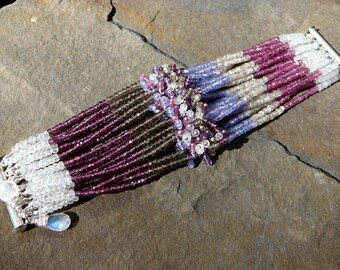 Moonstone Bracelet,Smoky Quartz Bracelet,Tanzanite Bracelet,Garnet Bracelet,Pink Tourmaline Bracelet,Multi Strand Bracelet,Moonstone Cuff