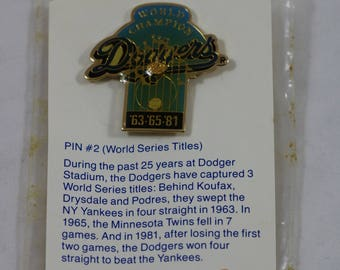 Vintage UNOCAL 76 Los Angeles LA DODGERS 1987 World Series 63 65 81 Baseball Pin #2