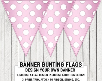 Pink White Polka Dot Baby Shower Banner Bunting