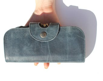 Big Fat Wallet in Navy Leather