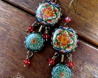 Bohemian jewelry, earrings, Chandelier earrings, Green boho earrings, Mexican earrings, Mexican jewelry, Mexican pottery design