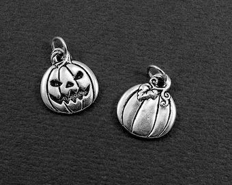 Jack O' Lantern Charm - Silver Jack O' Lantern Charm for Necklace or Bracelet