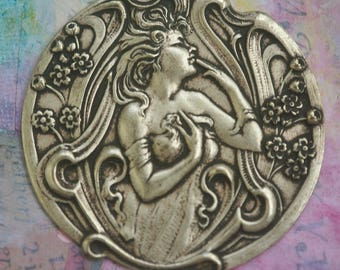 Art Nouveau Brass Ornament, Brass Ox, Brass Stampings Made in the USA