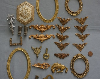 Antique Decorative Lot of 25 Brass Pieces Hardware Furniture Clocks