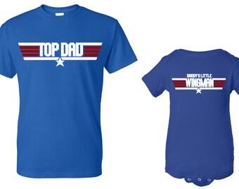 Top Dad Tshirt and Daddy's Little Wingman Onesie