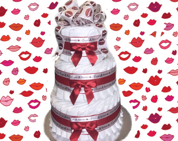 Featured listing image: 3 Layer- Hugs and Kisses Lips Baby Shower Diaper Cake