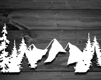 Mountains and Trees Vinyl Decal, Mountain Decal, Mountain Sticker, Nature Decal, Adventure Decal, Laptop Decal, Car Decal, Decals For Yeti