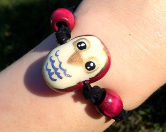 Glow-in-the-Dark Polymer Clay Owl Bracelet - UV/Blacklight Reactive, Hand-Painted, Glowing Jewelry, Double-Strand