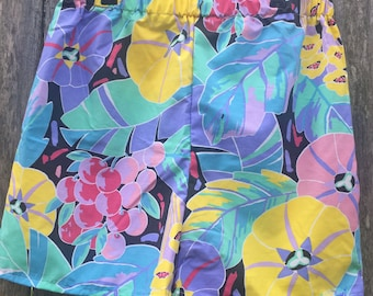 Ready to Ship - Ladies Wear - Retro - Floral - Elastic Shorts - High Waist Shorts - Vintage - Upcycled - Sustainable Fashion