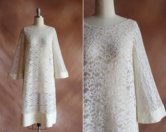 vintage 1960's white sheer lace & satin loose shift dress with angel sleeves / size s - m