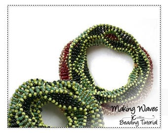 Cubic Right Angle Weave Beading Pattern Multi Wrap Bangle Beaded Necklace CRAW Bangle Instructions Seed Bead Jewelry Tutorial MAKING WAVES