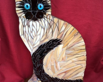 Siamese Cat  Mosaic , Stained Glass on Wood, Blue eyed Siamese Cat. Cat on Stand.