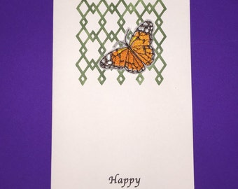 Beautiful Embroidered Butterfly Birthday Card