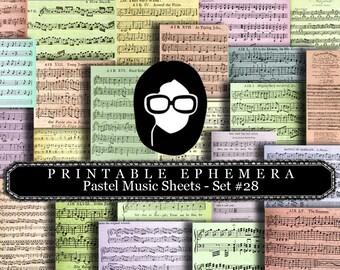 Paper Ephemera Kit - Pastel Sheet Music Set #28 - 25 Page Instant Download - ephemera pack, junk journal kit, junk journal pages