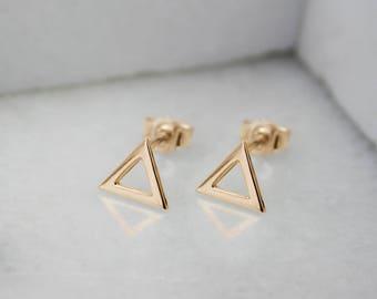 Triangle Stud Earrings, Tiny Gold Earrings, 14K Gold Earrings, Yellow Gold, Gift For Her, Simple Studs, Minimalist Earrings, Dainty Earrings